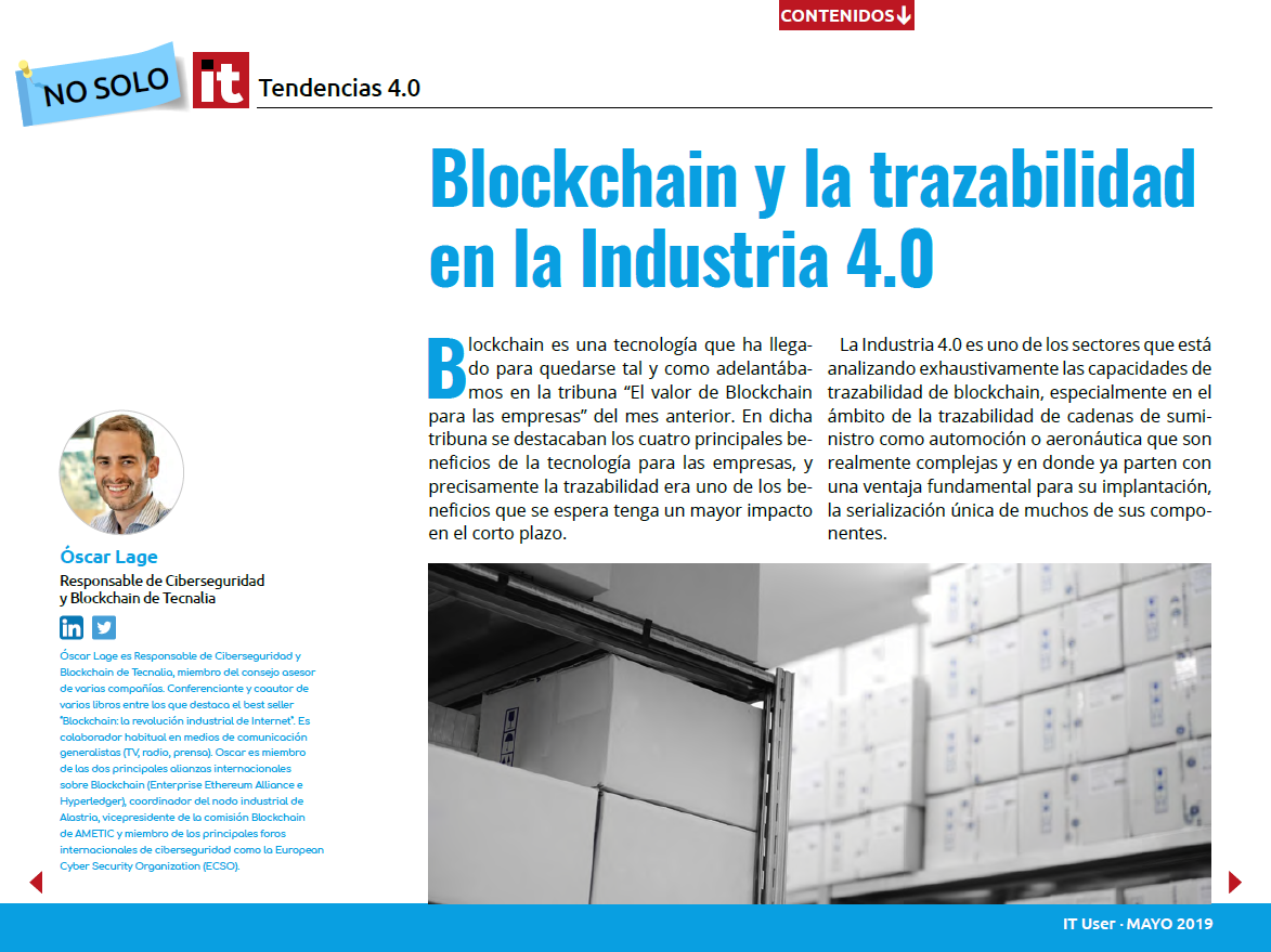 blockchain trazabilidad industria 4.0 - Oscar Lage